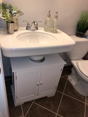 "HOM24"" Pedestal Sink Bathroom Vanity Cabi  White   Walmart"