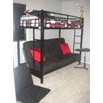 Premium Twin Over Futon Metal Bunk Bed Black Walmart Com