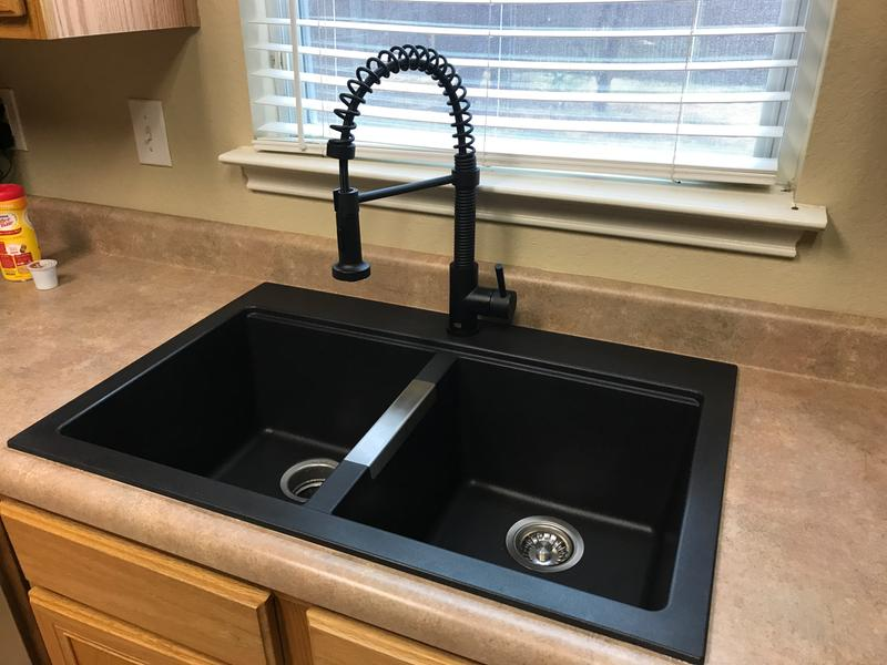 Kraus 33 Inch Dual Mount 50 Double Bowl Granite Kitchen Sink W Topmount And Undermount Installation In Black Onyx