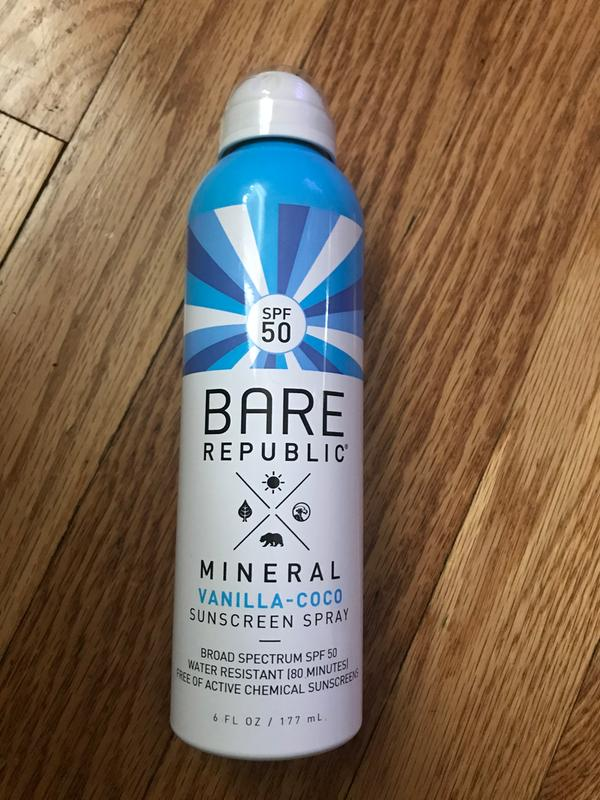Bare Republic Mineral SPF 50 Vanilla-Coco Sunscreen Spray, 12 Fl Oz