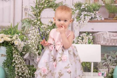 Crayon Kids Baby Girls Pink Floral Print Easter Flower Girl Dress 6-24M
