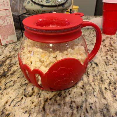 Tasty Borosilicate Glass Microwave Micro Pop Popcorn Popper 1 5 Quarts Red Walmart Com Walmart Com