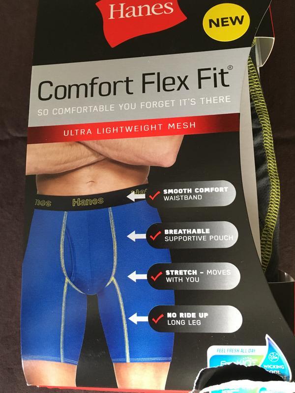 Hanes Mens Comfort Flex Fit Lightweight Mesh Boxer Brief 3-Pack