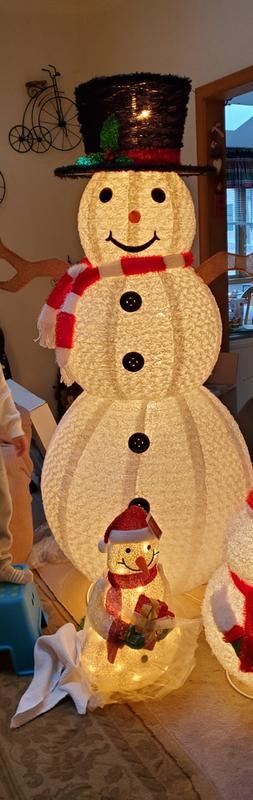 6 Pre Lit Chenille Swirl Large Snowman With Top Hat Christmas Outdoor Decoration Walmart Com Walmart Com