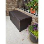 Suncast 22 Gallon Java Resin Wicker Small Storage Seat