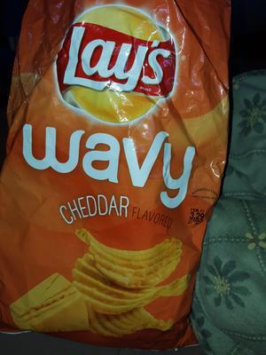 Lay's Wavy Cheddar Flavored Potato Chips, 7 75 Oz  - Walmart com