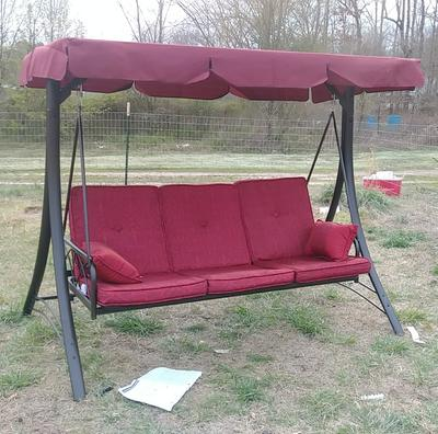Mainstays Callimont Park 3 Seat Canopy Porch Swing Bed Red