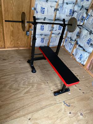 Adjustable Folding Fitness Barbell Rack and Weight Bench for Home Gym Training