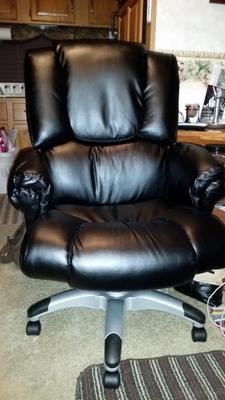Flash Furniture Over Stuffed Leather Executive Office Chair With Arms,  Black   Walmart.com