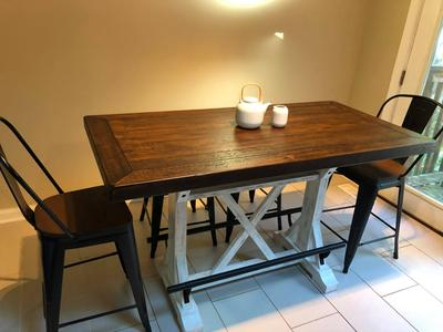 Signature Design By Ashley Valebeck White Brown Rectangular Dining Room Counter Height Table Walmart Com Walmart Com