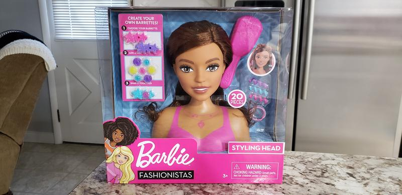 Black Hair 20-Pieces New 2020 Toy Gift Barbie Fashionistas 8-Inch Styling Head