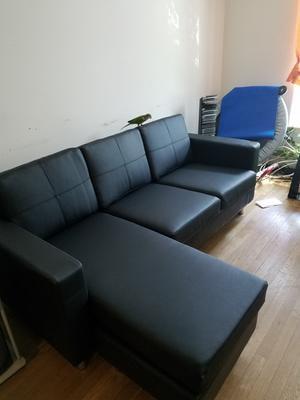 Small Spaces Sectional Sofa, Black Faux   Walmart.com