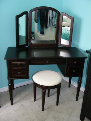 Classic Vanity With Tri Fold Mirror And Bench Espresso Walmartcom
