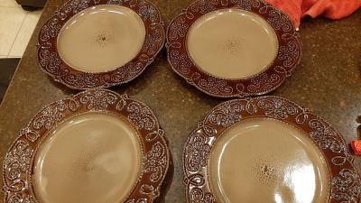 Stoneware 4/Units H/&H Mykonos Set Reddish//Brown Dinner Plates