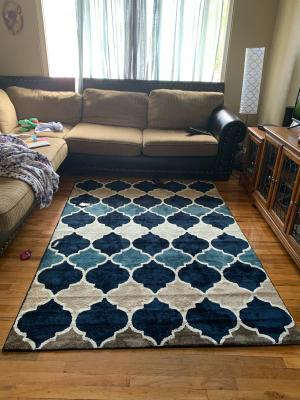 Better Homes Gardens Quatrefoil Polyester Area Rug Blue