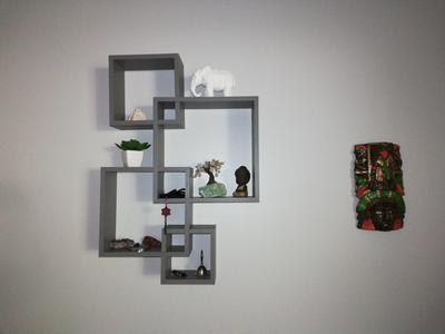 White Finish .1 Pack Greenco Decorative 4 Cube Intersecting Wall Mounted Floating Shelves