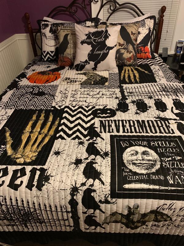 Nevermore 4-Pc King Quilt Pillow Sham Bed Set Halloween Orange Pumpkin Decor