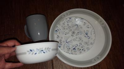 16 Piece Corelle Signature Praire Dinnerware Set In Gray White Walmart Com Walmart Com
