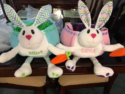11 x 12 Custom Name Embroidery on Soft White Bunny with Chevron Patterned Ears Personalized Blue Plush Easter Bunny Basket