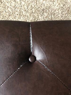 Fantastic Dorel Living Hastings Tufted Faux Leather Ottoman Brown Machost Co Dining Chair Design Ideas Machostcouk