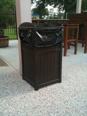 Java Suncast Trash Hideaway Outdoor Patio 33 Gallon Garbage Waste Trash Can Bin