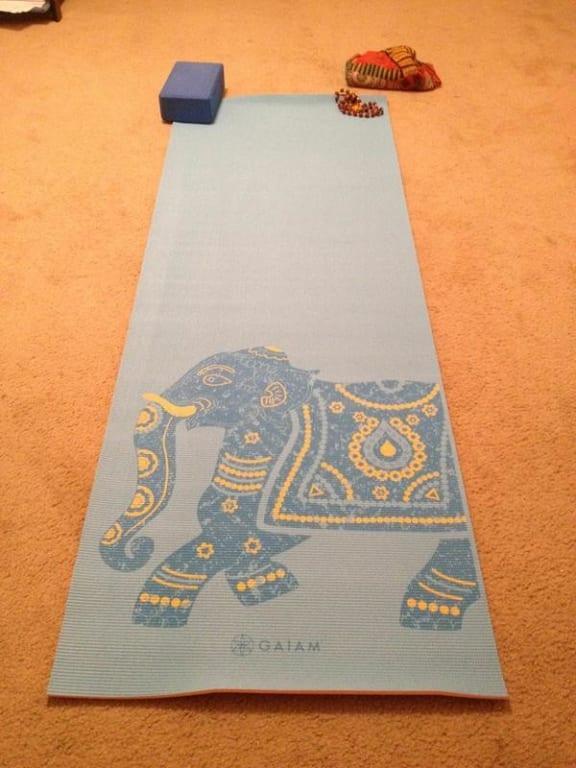 Gaiam Premium Print Reversible Yoga Mat Purple Lotus 6mm Walmart Com Walmart Com