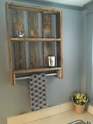 Surprising Reclaimed Wood Bathroom Plank Shelf With Towel Bar Natural Uwap Interior Chair Design Uwaporg