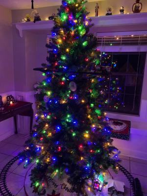 7ft 230 Branch Artificial Christmas Tree Pre-Lit Fiber Optic Snow Led Light B2