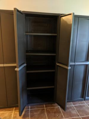 Shelf Cabinet Flat Gray Cabinets Racks, Sterilite Storage Cabinets With Doors And Shelves