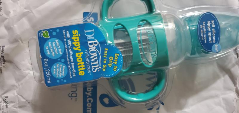 Blue Dr Sippy Spout Baby Bottle with 100/% Silicone Handle Brown/'s Options