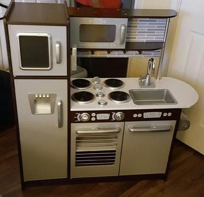 Kidkraft Uptown Espresso Play Kitchen With 30 Piece Play Food Walmart Com Walmart Com