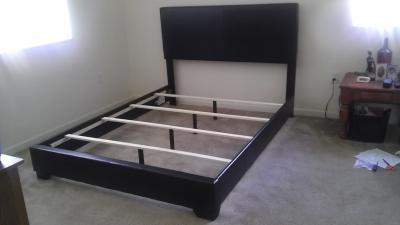 Ireland Queen Faux Leather Bed, Brown   Walmart.com