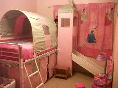 Girl Apos S Castle Tent Twin Metal Loft Bed With Slide Amp Under