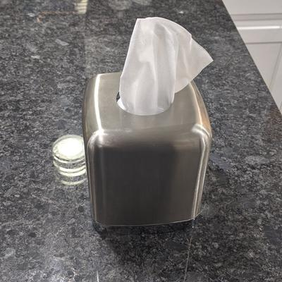 LOT 3 Square Kleenex Box Cover Facial Tissue paper Holder stainless steel silver