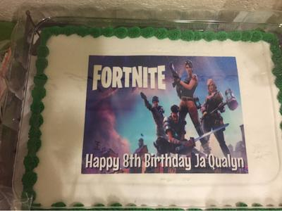 Fortnite Personalized Birthday Edible Frosting Image 1 4 Sheet Cake Topper