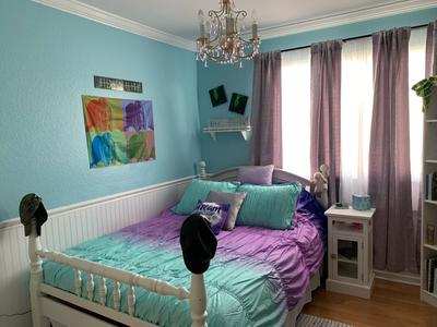 Heritage Club Ombre Ruched Kids 5 Piece, Teal And Purple Ombre Bedding