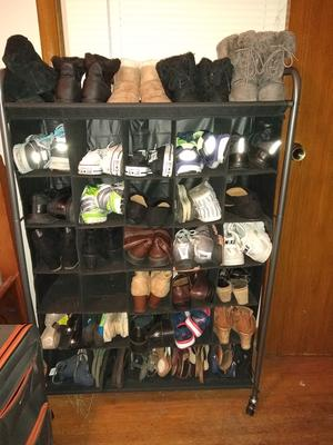 6-Tiers Double Row Shoes Rack with Nonwoven Fabric Cover Space Saving Shoe Shelves for Closet Cabinet Entryway 42.1x11.6x45.3 Black Shoe Rack Storage Organizer