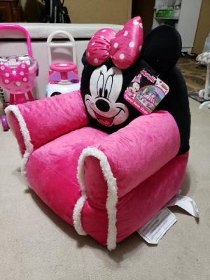 Disney Minnie Mouse Toddler Double Bean Bag Sofa Chair with Sherpa Trim