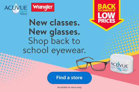 Back to campus at low prices – New classes. New glasses. Shop back to school eyewear. – Acuvue | Wrangler – Find a store