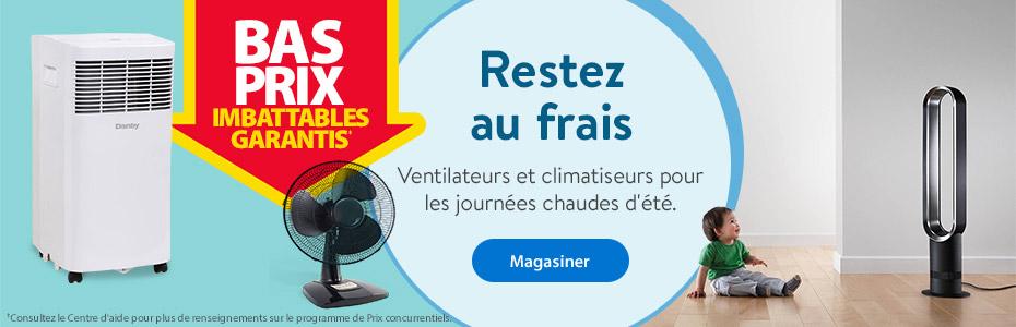 Bas prix imbattables garantis – Restez au frais – Ventilateurs et climatiseurs pour les journées chaudes d'été. – Magasiner *Consultez le Centre d'aide pour plus de renseignements sur le programme de Prix concurrentiels.